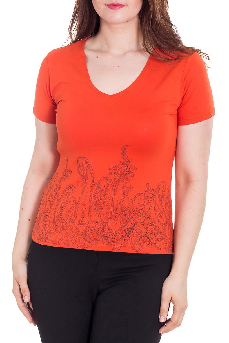 ФутболкаФутболки<br>Универсальная футболка с короткими рукавами. Модель выполнена из приятного материала. Отличный выбор для повседневного гардероба.  Цвет: оранжевый  Рост девушки-фотомодели 180 см<br><br>Горловина: С- горловина<br>По материалу: Вискоза<br>По рисунку: Однотонные,С принтом<br>По сезону: Весна,Зима,Лето,Осень,Всесезон<br>По силуэту: Приталенные<br>По стилю: Повседневный стиль,Летний стиль<br>Рукав: Короткий рукав<br>Размер : 46,48<br>Материал: Вискоза<br>Количество в наличии: 2