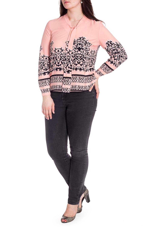 БлузкаБлузки<br>Цветная блузка с длинными рукавами. Модель выполнена из приятного материала. Отличный выбор для любого случая.  В изделии использованы цвета: персиковый, черный  Рост девушки-фотомодели 180 см.<br><br>Рукав: Длинный рукав<br>Материал: Блузочная ткань,Тканевые<br>Рисунок: С принтом,Цветные<br>Сезон: Весна,Всесезон,Зима,Лето,Осень<br>Силуэт: Прямые<br>Стиль: Повседневный стиль<br>Размер : 46,48,50,52,54,56<br>Материал: Блузочная ткань<br>Количество в наличии: 6