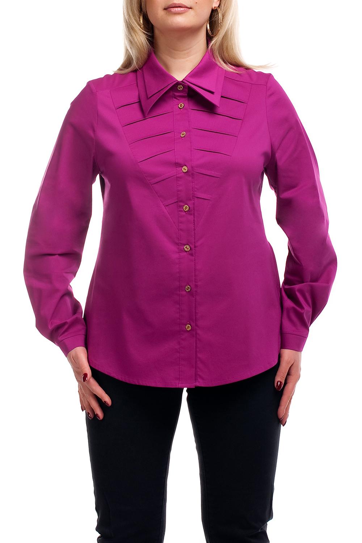 РубашкаРубашки<br>Классическая рубашка из приятного материала. Отличный выбор для повседневного и делового гардероба.  Возможны незначительные отличия фурнитуры от картинки.  Цвет: ярко-фиолетовый  Рост девушки-фотомодели 173 см.<br><br>Воротник: Рубашечный<br>Застежка: С пуговицами<br>По материалу: Тканевые,Хлопок<br>По образу: Город<br>По рисунку: Однотонные<br>По сезону: Весна,Зима,Лето,Осень,Всесезон<br>По стилю: Повседневный стиль<br>По элементам: С манжетами<br>Рукав: Длинный рукав<br>По силуэту: Приталенные<br>Размер : 52,54,56,58,60,62,64,66,68,70<br>Материал: Блузочная ткань<br>Количество в наличии: 39