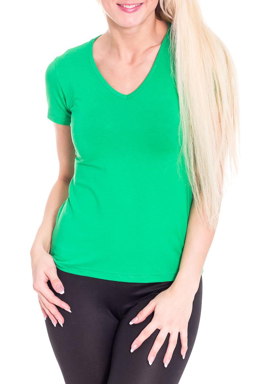 ФутболкаФутболки<br>Женская однотонная футболка является базовым предметом гардероба.  Цвет: зеленый  Рост девушки-фотомодели 170 см<br><br>Горловина: V- горловина<br>По материалу: Вискоза,Трикотаж<br>По рисунку: Однотонные<br>По сезону: Весна,Всесезон,Зима,Лето,Осень<br>По силуэту: Полуприталенные<br>По стилю: Молодежный стиль,Повседневный стиль,Спортивный стиль<br>По форме: Классические<br>Рукав: Короткий рукав<br>Размер : 44<br>Материал: Вискоза<br>Количество в наличии: 1