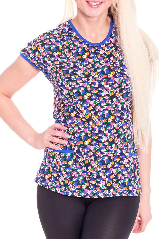 ФутболкаФутболки<br>Домашняя футболка с круглой горловиной и коротким рукавом. Домашняя одежда, прежде всего, должна быть удобной, практичной и красивой. В футболке Вы будете чувствовать себя комфортно, особенно, по вечерам после трудового дня.  Цвет: синий, мультицвет  Рост девушки-фотомодели 170 см<br><br>Горловина: С- горловина<br>По рисунку: Растительные мотивы,Цветные,Цветочные,С принтом<br>По сезону: Весна,Осень,Зима,Лето,Всесезон<br>По силуэту: Свободные<br>По форме: Футболки<br>Рукав: Короткий рукав<br>По материалу: Трикотаж,Хлопок<br>Размер : 42<br>Материал: Хлопок<br>Количество в наличии: 1