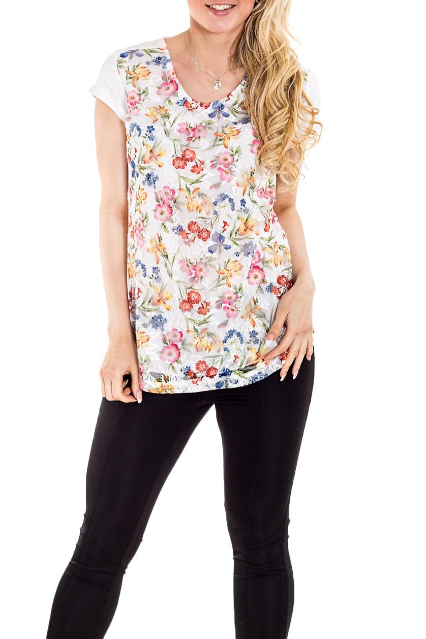БлузкаБлузки<br>Красивая блузка с короткими рукавами. Модель выполнена из мягкой вискозы. Отличный выбор для повседневного гардероба.  Цвет: белый, мультицвет  Рост девушки-фотомодели 170 см<br><br>Горловина: V- горловина<br>По материалу: Вискоза,Трикотаж<br>По рисунку: Растительные мотивы,С принтом,Цветные,Цветочные<br>По сезону: Весна,Зима,Лето,Осень,Всесезон<br>По силуэту: Полуприталенные<br>По стилю: Повседневный стиль,Летний стиль<br>Рукав: Короткий рукав<br>Размер : 44,46<br>Материал: Вискоза<br>Количество в наличии: 2