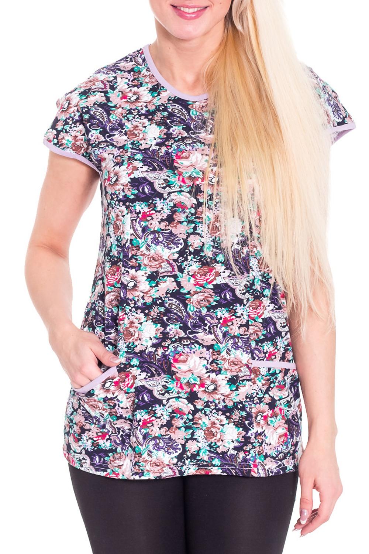 ФутболкаФутболки<br>Домашняя футболка с круглой горловиной и коротким рукавом. Домашняя одежда, прежде всего, должна быть удобной, практичной и красивой. В футболке Вы будете чувствовать себя комфортно, особенно, по вечерам после трудового дня.  Цвет: синий, белый, розовый, бирюзовый  Рост девушки-фотомодели 170 см<br><br>Горловина: С- горловина<br>По рисунку: Растительные мотивы,Цветные,Цветочные<br>По сезону: Весна,Осень<br>По силуэту: Свободные<br>По форме: Футболки<br>Рукав: Короткий рукав<br>По материалу: Трикотаж,Хлопок<br>Размер : 42<br>Материал: Хлопок<br>Количество в наличии: 1