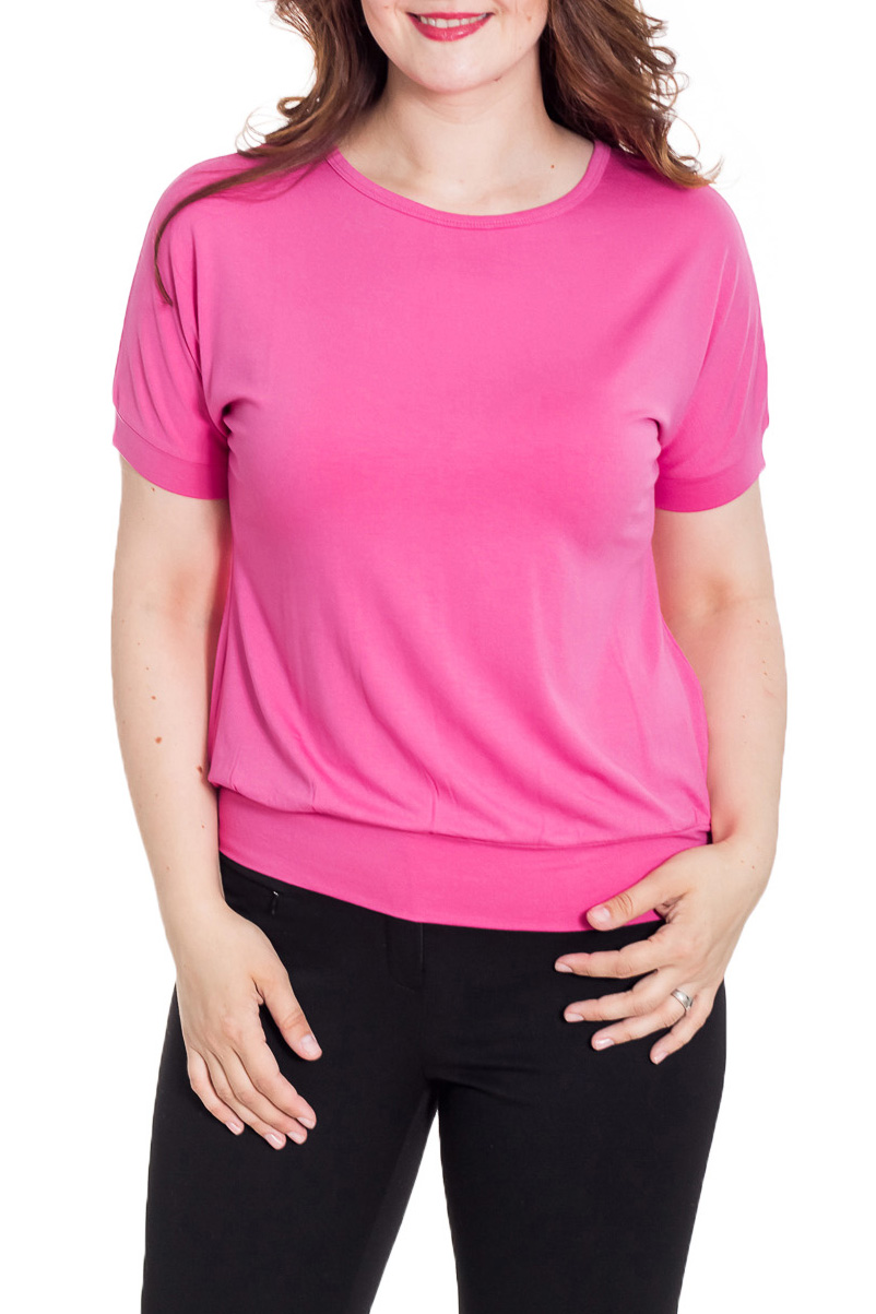 БлузкаБлузки<br>Красивая блузка с короткими рукавами. Модель выполнена из приятного материала. Отличный выбор для повседневного гардероба.  Цвет: розовый  Рост девушки-фотомодели 180 см.<br><br>Горловина: С- горловина<br>По материалу: Вискоза<br>По рисунку: Однотонные<br>По сезону: Весна,Зима,Лето,Осень,Всесезон<br>По силуэту: Полуприталенные<br>По стилю: Повседневный стиль<br>Рукав: Короткий рукав<br>Размер : 44,46,48<br>Материал: Вискоза<br>Количество в наличии: 3