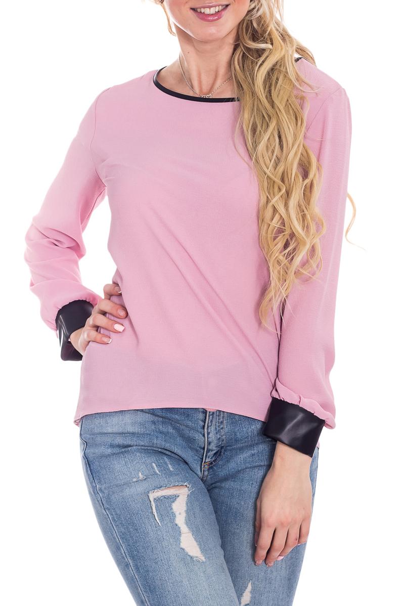 БлузкаБлузки<br>Замечательная блузка с длинными рукавами. Модель выполнена из приятного материала. Отличный выбор для любого случая.  В изделии использованы цвета: розовый, черный  Рост девушки-фотомодели 170 см<br><br>Горловина: С- горловина<br>По материалу: Трикотаж<br>По рисунку: Цветные<br>По сезону: Весна,Зима,Лето,Осень,Всесезон<br>По силуэту: Прямые<br>По стилю: Повседневный стиль<br>По элементам: С манжетами<br>Рукав: Длинный рукав<br>Размер : 44-46,48-50,52-54,56-58<br>Материал: Трикотаж<br>Количество в наличии: 4