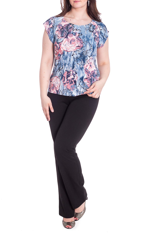 БлузкаБлузки<br>Очаровательная женская блузка из приятного к телу трикотажа станет основой Вашего повседневного гардероба. Короткие рукава.  В изделии использованы цвета: голубой, розовый и др.  Рост девушки-фотомодели 180 см.<br><br>Горловина: С- горловина<br>По материалу: Вискоза,Трикотаж<br>По рисунку: Растительные мотивы,С принтом,Цветные,Цветочные<br>По сезону: Весна,Всесезон,Зима,Осень,Лето<br>По силуэту: Приталенные<br>По стилю: Летний стиль,Повседневный стиль<br>Рукав: Короткий рукав<br>Размер : 48,50,52,54,56,58<br>Материал: Холодное масло<br>Количество в наличии: 6