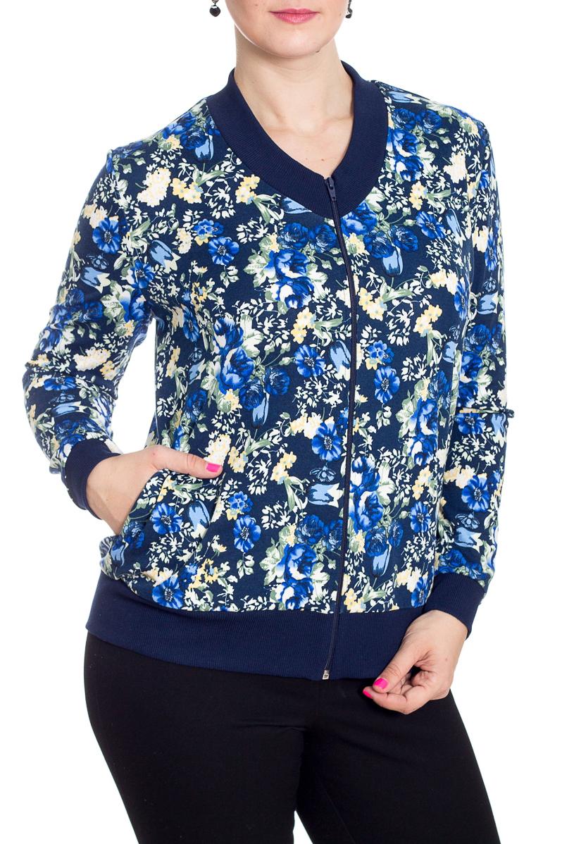 КурткаКофты<br>Цветная куртка с застежкой на молнию и длинными рукавами с манжетами. Модель выполнена из приятного трикотажа. Отличный выбор для повседневного гардероба. Ростовка изделия 164 см.  В изделии использованы цвета: синий, белый, голубой  Рост девушки-фотомодели 180 см<br><br>Горловина: С- горловина<br>Застежка: С молнией<br>По длине: Средней длины<br>По материалу: Вискоза,Трикотаж<br>По образу: Город<br>По рисунку: С принтом,Цветные,Цветочные<br>По силуэту: Полуприталенные<br>По стилю: Повседневный стиль<br>По элементам: С карманами,С манжетами<br>Рукав: Длинный рукав<br>По сезону: Осень,Весна<br>Размер : 48,50,52,54<br>Материал: Трикотаж<br>Количество в наличии: 4