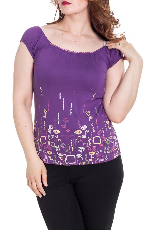 БлузкаБлузки<br>Красивая блузка с короткими рукавами. Модель выполнена из приятного материала. Отличный выбор для повседневного гардероба.  Цвет: фиолетовый и др.  Рост девушки-фотомодели 180 см.<br><br>Горловина: С- горловина<br>По материалу: Вискоза<br>По рисунку: С принтом,Цветные<br>По сезону: Весна,Зима,Лето,Осень,Всесезон<br>По силуэту: Полуприталенные<br>По стилю: Повседневный стиль<br>Рукав: Короткий рукав<br>Размер : 50<br>Материал: Вискоза<br>Количество в наличии: 1