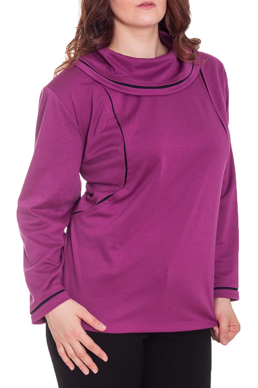 ДжемперДжемперы<br>Прекрасный джемпер с воротником и длинными рукавами. Модель выполнена из однотонного трикотажа с контрастной отделкой. Отличный выбор для повседневного гардероба.  Цвет: фиолетовый  Рост девушки-фотомодели 180 см.<br><br>По материалу: Трикотаж<br>По рисунку: Однотонные<br>По силуэту: Прямые<br>По стилю: Повседневный стиль<br>По элементам: С декором<br>Рукав: Длинный рукав<br>По сезону: Осень,Весна<br>Размер : 60<br>Материал: Джерси<br>Количество в наличии: 1
