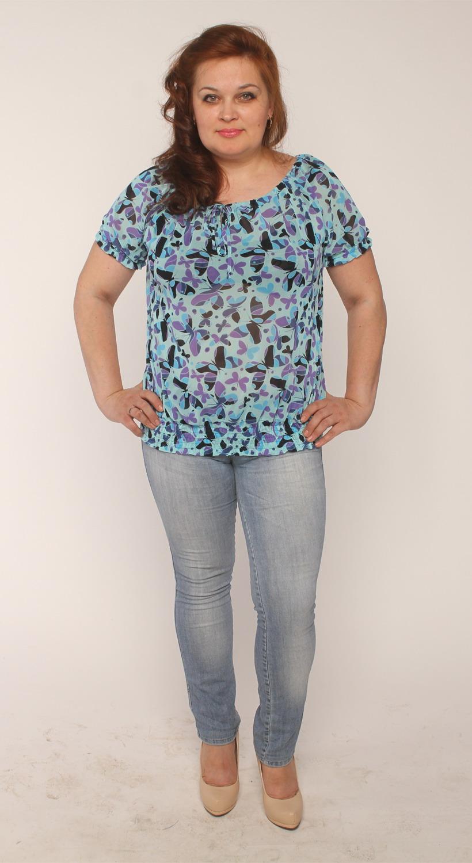 БлузкаБлузки<br>Красивая женская блузка с короткими рукавами. Модель выполнена из приятного материала. Прекрасный вариант для любого случая.  Цвет: голубой, черный, сиреневый  Длина изделия 56 см.  Длина рукава 19 см.  Рост девушки-фотомодели 165 см.<br><br>Горловина: С- горловина<br>По материалу: Вискоза<br>По образу: Город,Свидание<br>По рисунку: Бабочки,Цветные,С принтом<br>По сезону: Весна,Всесезон,Зима,Лето,Осень<br>По силуэту: Свободные<br>По стилю: Повседневный стиль<br>Рукав: Короткий рукав<br>Размер : 44,46,48,50,52,54,56,58<br>Материал: Трикотаж<br>Количество в наличии: 8