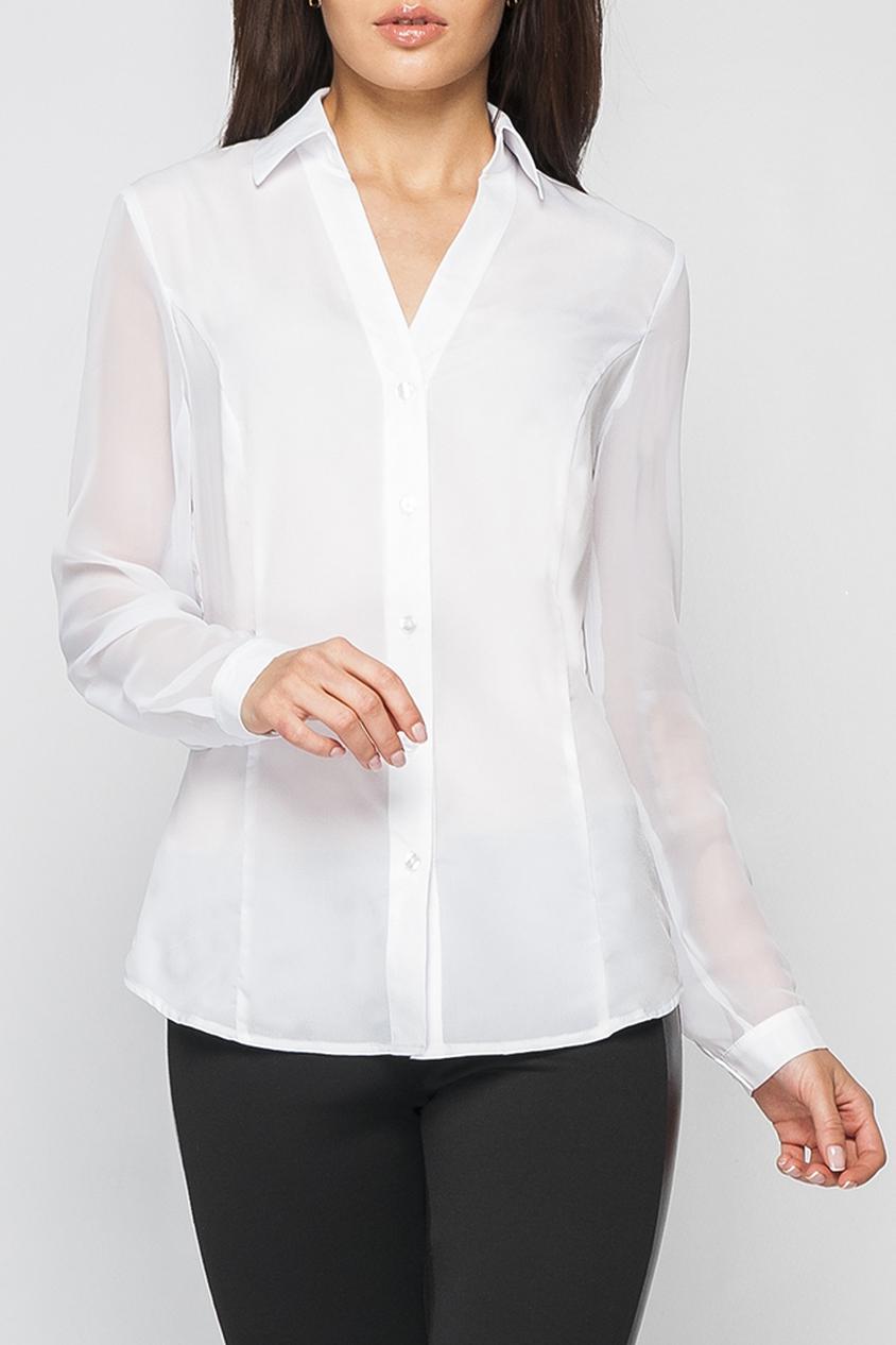 БлузкаБлузки<br>Рубашка женская из шифона полуприлегающего силуэта. Рукав длинный на манжете.Вырез V-образный. По всему переду изделия идут застежки-пуговицы. Низ изделия фигурный.   Параметры изделия:  44 размер: длина по спинке - 67см, полуобхват по линии груди - 50см, длина рукава - 61 см;  52 размер: длина по спинке - 69 см, полуобхват по линии груди - 58см, длина рукава - 62,5 см.  Цвет: белый  Рост девушки-фотомодели 170 см<br><br>Горловина: V- горловина<br>Застежка: С пуговицами<br>По материалу: Шелк,Шифон<br>По образу: Город,Офис,Свидание<br>По рисунку: Однотонные<br>По сезону: Весна,Зима,Лето,Осень,Всесезон<br>По силуэту: Полуприталенные<br>По стилю: Повседневный стиль<br>По элементам: С манжетами<br>Рукав: Длинный рукав<br>Размер : 44,48,50,52,54<br>Материал: Искусственный шелк + Шифон<br>Количество в наличии: 5