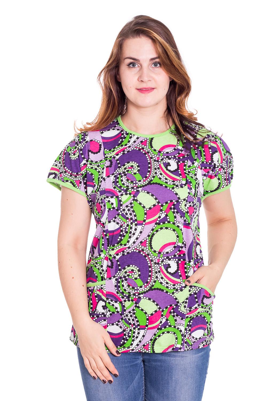ФутболкаФутболки<br>Хлопковая футболка с круглой горловиной. Домашняя одежда, прежде всего, должна быть красивой, удобной и практичной. В этой футболке Вы будете чувствовать себя комфортно, особенно, по вечерам после трудового дня.  Цвет: белый, сиреневый, салатовый  Рост девушки-фотомодели 180 см<br><br>Горловина: С- горловина<br>По рисунку: Абстракция,Цветные,С принтом<br>По сезону: Весна,Всесезон,Зима,Лето,Осень<br>По силуэту: Свободные<br>Рукав: Короткий рукав<br>По материалу: Трикотаж,Хлопок<br>Размер : 56<br>Материал: Хлопок<br>Количество в наличии: 1