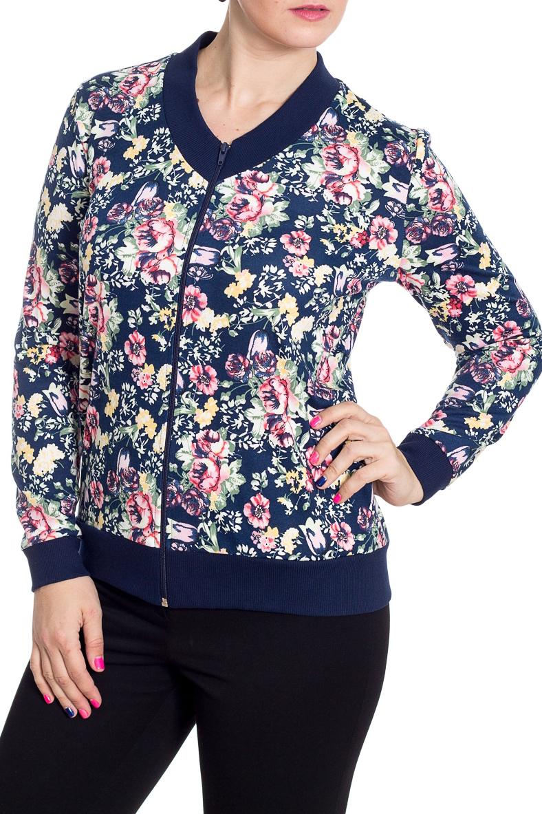 КурткаКофты<br>Цветная куртка с застежкой на молнию и длинными рукавами с манжетами. Модель выполнена из приятного трикотажа. Отличный выбор для повседневного гардероба. Ростовка изделия 164 см.  В изделии использованы цвета: синий, розовый, белый, зеленый  Рост девушки-фотомодели 180 см<br><br>Горловина: С- горловина<br>Застежка: С молнией<br>По длине: Средней длины<br>По материалу: Вискоза,Трикотаж<br>По рисунку: Растительные мотивы,С принтом,Цветные,Цветочные<br>По силуэту: Полуприталенные<br>По стилю: Повседневный стиль<br>По элементам: С карманами,С манжетами<br>Рукав: Длинный рукав<br>По сезону: Осень,Весна<br>Размер : 48,52,54<br>Материал: Трикотаж<br>Количество в наличии: 5