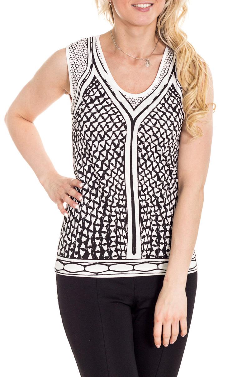 БлузкаБлузки<br>Цветная блузка без рукавов полуприталенного силуэта. Модель выполнена из мягкой вискозы. Отличный выбор для повседневного гардероба.  Цвет: белый, черный  Рост девушки-фотомодели 170 см.<br><br>Горловина: С- горловина<br>По материалу: Вискоза<br>По рисунку: С принтом,Цветные<br>По сезону: Весна,Зима,Лето,Осень,Всесезон<br>По силуэту: Полуприталенные<br>По стилю: Повседневный стиль,Летний стиль<br>Рукав: Без рукавов<br>Размер : 46,48,50<br>Материал: Вискоза<br>Количество в наличии: 5