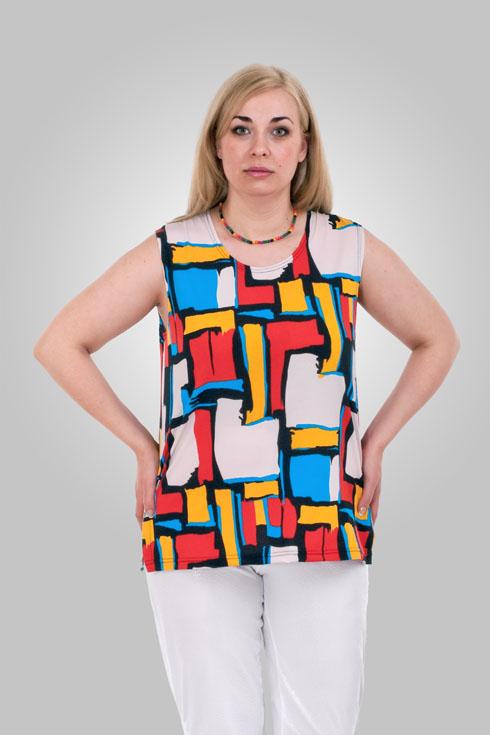 МайкаМайки<br>Цветная майка из приятного трикотажа. Отличный выбор для базового гардероба.  Цвет: белый, красный, желтый, голубой  Рост девушки-фотомодели 173 см.<br><br>Бретели: Широкие бретели<br>Горловина: С- горловина<br>По материалу: Вискоза,Трикотаж<br>По образу: Город<br>По рисунку: С принтом,Цветные<br>По сезону: Весна,Зима,Лето,Осень,Всесезон<br>По стилю: Повседневный стиль<br>Размер : 52-54<br>Материал: Холодное масло<br>Количество в наличии: 1