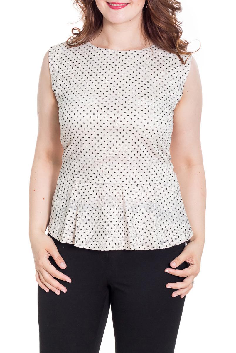 БлузкаБлузки<br>Красивая блузка приталенного силуэта. Модель выполнена из приятного материала. Отличный выбор для повседневного гардероба.  Цвет: белый, черный  Рост девушки-фотомодели 180 см.<br><br>Горловина: С- горловина<br>По материалу: Блузочная ткань,Трикотаж<br>По рисунку: В горошек,С принтом,Цветные<br>По сезону: Весна,Зима,Лето,Осень,Всесезон<br>По стилю: Повседневный стиль,Летний стиль<br>По элементам: С баской<br>Рукав: Без рукавов<br>По силуэту: Приталенные<br>Размер : 46,50<br>Материал: Блузочная ткань<br>Количество в наличии: 2