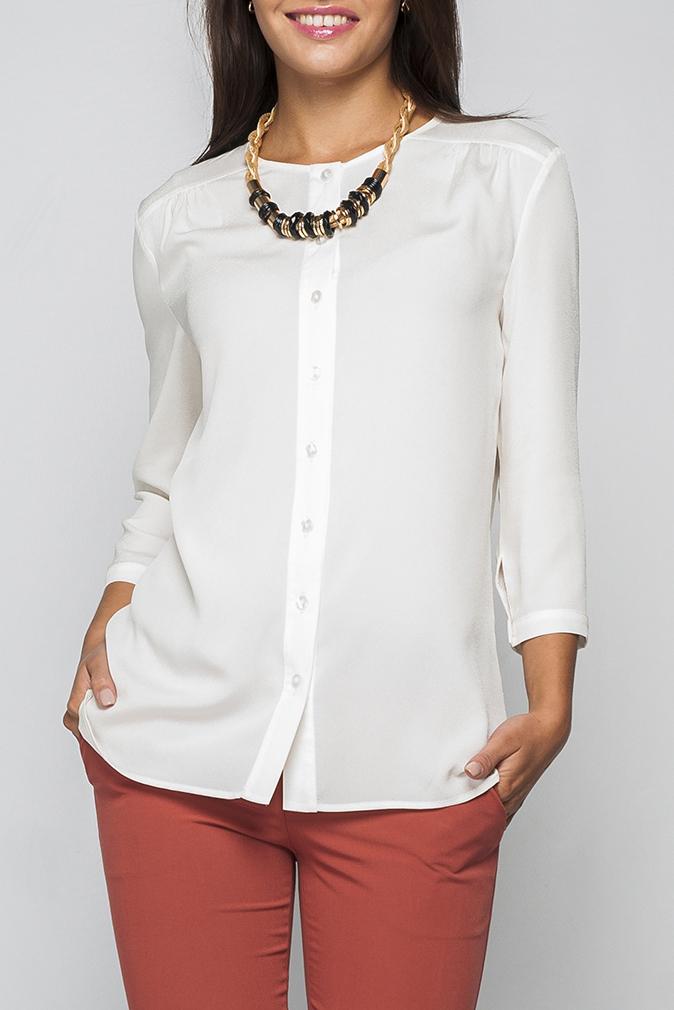 РубашкаРубашки<br>Рубашка женская полуприталеная, по переду изделия пуговицы-застежки. Нежная и элегантная модель которая идеально будет сочетаться как с юбкой так и с брюками.   Параметры размеров: 44 размер: длина изделия по спинке - 67 см, полуобхват по линии груди - 51 см, длина рукава - 44 см;  54 размер: длина изделия по спинке - 71 см, полуобхват по линии груди - 61 см, длина рукава - 45 см.  Цвет: молочный.  Рост девушки-фотомодели 170 см<br><br>Застежка: С пуговицами<br>По материалу: Блузочная ткань,Трикотаж<br>По образу: Город,Офис,Свидание<br>По рисунку: Однотонные<br>По сезону: Весна,Зима,Лето,Осень,Всесезон<br>По силуэту: Полуприталенные<br>По стилю: Повседневный стиль<br>Рукав: Рукав три четверти<br>Размер : 58,60<br>Материал: Блузочная ткань<br>Количество в наличии: 2