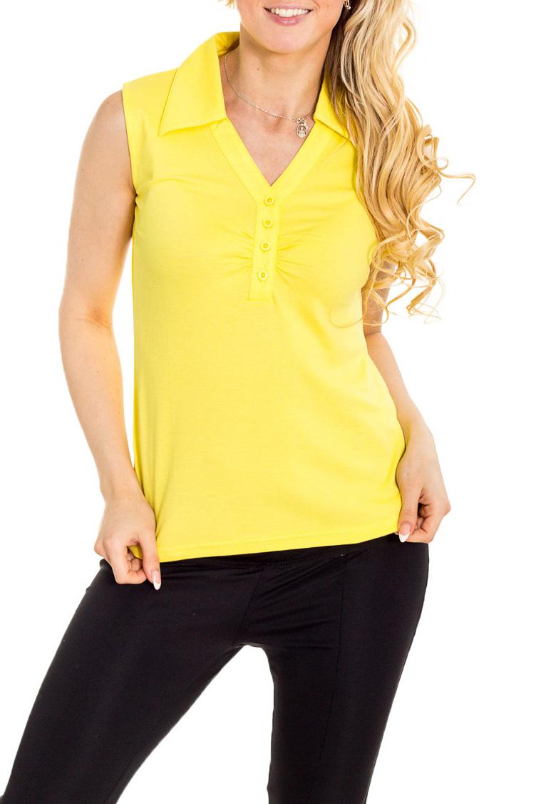 БлузкаБлузки<br>Однотонная блузка без рукавов полуприталенного силуэта. Модель выполнена из мягкой вискозы. Отличный выбор для повседневного гардероба.  Цвет: желтый  Рост девушки-фотомодели 170 см.<br><br>Воротник: Отложной<br>Горловина: V- горловина<br>Застежка: С пуговицами<br>По материалу: Вискоза<br>По образу: Город<br>По рисунку: Однотонные<br>По сезону: Весна,Зима,Лето,Осень,Всесезон<br>По силуэту: Полуприталенные<br>По стилю: Повседневный стиль<br>Рукав: Без рукавов<br>Размер : 46,48,50<br>Материал: Вискоза<br>Количество в наличии: 6
