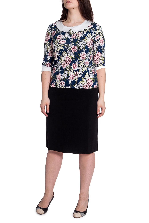БлузкаБлузки<br>Чудесное блузка с белыми манжетами и воротничком. Модель выполнена из приятного материала. Отличный выбор для любого случая.   В изделии использованы цвета: синий, белый, зеленый и др.  Рост девушки-фотомодели 180 см<br><br>Воротник: Отложной<br>Горловина: С- горловина<br>По материалу: Трикотаж<br>По рисунку: Растительные мотивы,С принтом,Цветные,Цветочные<br>По сезону: Весна,Зима,Лето,Осень,Всесезон<br>По силуэту: Полуприталенные<br>По стилю: Повседневный стиль<br>По элементам: С воротником,С манжетами<br>Рукав: Рукав три четверти<br>Размер : 50,54,56<br>Материал: Холодное масло<br>Количество в наличии: 3