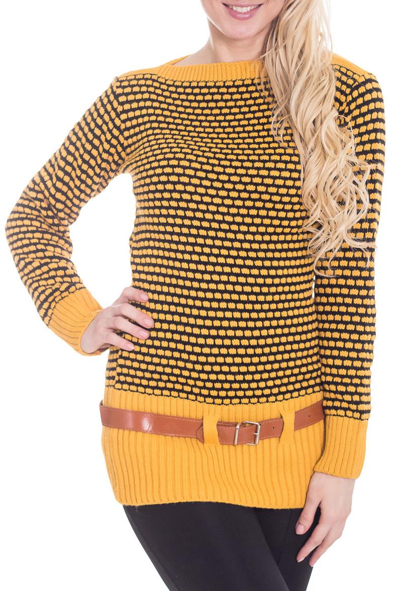 ТуникаТуники<br>Цветная туника с длинными рукавами. Вязаный трикотаж - это красота, тепло и комфорт. В вязанной одежде очень легко оставаться женственной и в то же время не замёрзнуть. Туника без пояса.  Цвет: желтый, черный  Рост девушки-фотомодели 170 см<br><br>Горловина: Лодочка<br>По материалу: Вязаные,Трикотаж<br>По образу: Город,Свидание<br>По рисунку: В полоску,С принтом,Цветные<br>По силуэту: Приталенные<br>По стилю: Повседневный стиль<br>Рукав: Длинный рукав<br>По сезону: Зима<br>Размер : 44<br>Материал: Вязаное полотно<br>Количество в наличии: 2