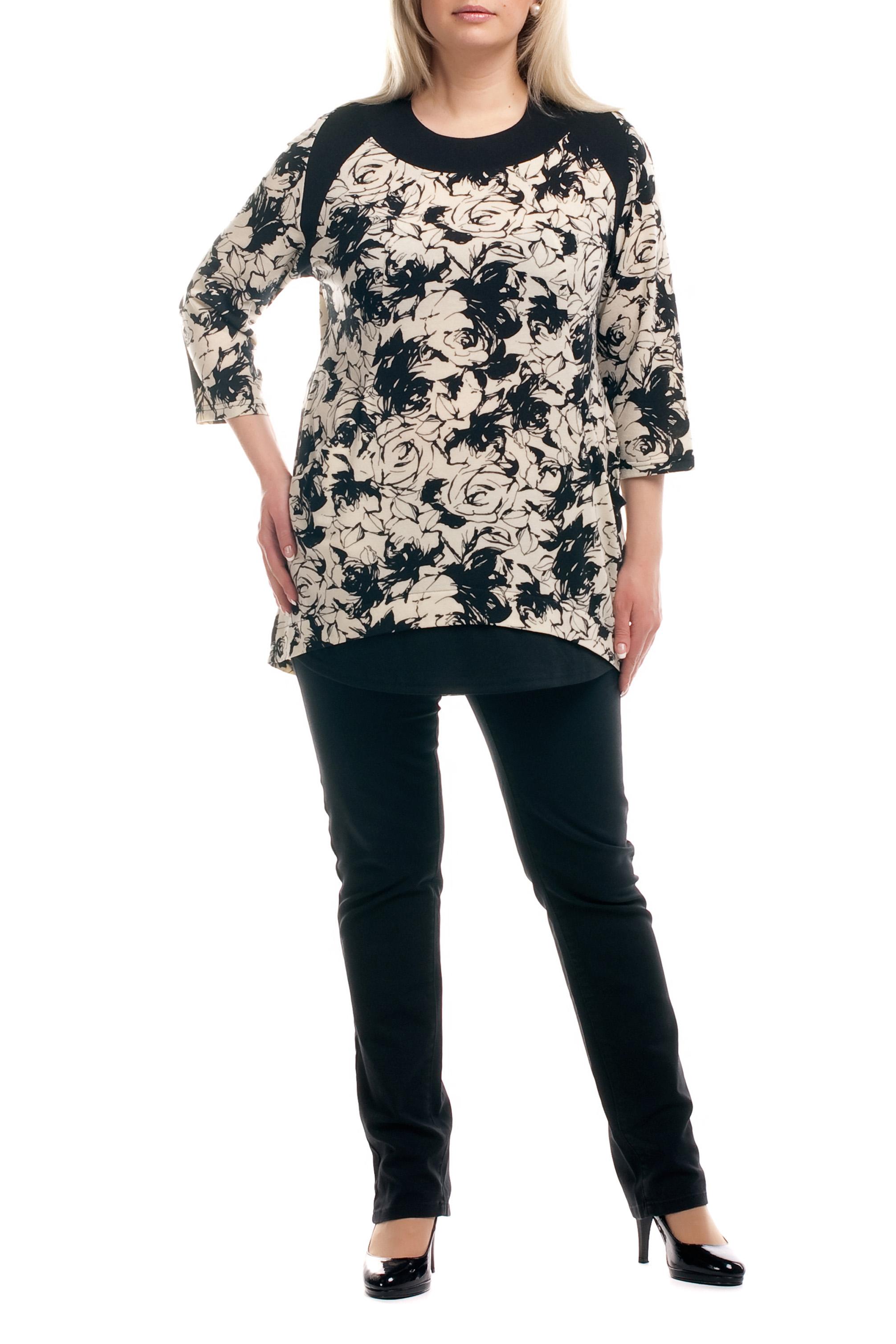 ТуникаТуники<br>Удлиненная женская туника с фигурной горловиной и рукавами 3/4. Модель выполнена из плотного трикотажа. Отличный выбор для повседневного гардероба.  Цвет: бежевый, черный  Рост девушки-фотомодели 173 см.<br><br>Горловина: С- горловина<br>По материалу: Вискоза,Трикотаж<br>По рисунку: Абстракция,Цветные<br>По сезону: Весна,Осень<br>По силуэту: Прямые<br>По стилю: Повседневный стиль<br>По элементам: С декором,С карманами<br>Рукав: Рукав три четверти<br>Размер : 52,54,56,64,66<br>Материал: Трикотаж<br>Количество в наличии: 15