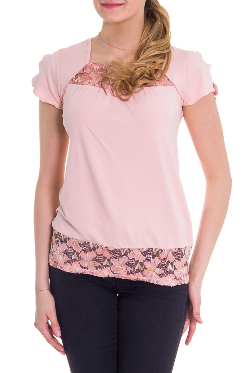 БлузкаБлузки<br>Женская блузка с короткими рукавами. Модель выполнена из мягкой вискозы. Отличный выбор для повседневного гардероба.  За счет свободного кроя и эластичного материала изделие можно носить во время беременности  Рост девушки-фотомодели 176 см  Цвет: розовый<br><br>По материалу: Вискоза<br>По образу: Город,Свидание<br>По сезону: Весна,Лето,Зима,Осень,Всесезон<br>По силуэту: Полуприталенные<br>Рукав: Короткий рукав<br>По стилю: Повседневный стиль,Романтический стиль<br>Горловина: Квадратная горловина<br>По рисунку: Однотонные<br>Размер : 42,44<br>Материал: Вискоза<br>Количество в наличии: 2