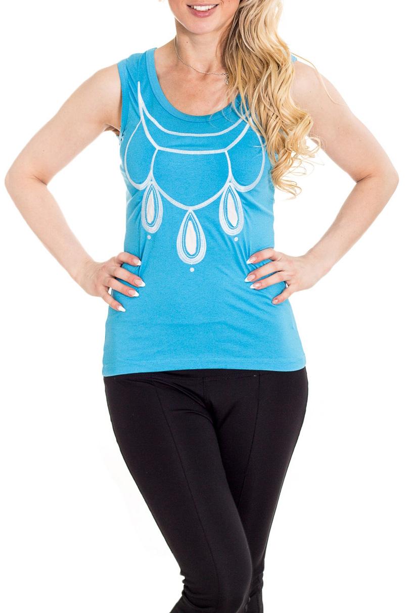БлузкаБлузки<br>Чудесная блузка без рукавов полуприталенного силуэта. Модель выполнена из мягкой вискозы. Отличный выбор для повседневного гардероба.  Цвет: голубой, белый  Рост девушки-фотомодели 170 см.<br><br>Горловина: С- горловина<br>По материалу: Вискоза<br>По рисунку: С принтом,Цветные<br>По сезону: Весна,Зима,Лето,Осень,Всесезон<br>По силуэту: Полуприталенные<br>По стилю: Повседневный стиль,Летний стиль<br>Рукав: Без рукавов<br>Размер : 44,46,48,50<br>Материал: Вискоза<br>Количество в наличии: 4