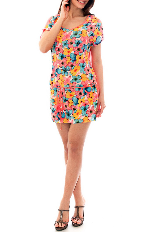 ТуникаТуники<br>Цветная туника из хлопкового материала. Отличный выбор для летнего гардероба.  Цвет: коралловый, мультицвет  Рост девушки-фотомодели 170 см<br><br>Горловина: С- горловина<br>По материалу: Хлопок<br>По образу: Город,Свидание<br>По рисунку: С принтом,Цветные,Бабочки<br>По силуэту: Полуприталенные<br>По стилю: Повседневный стиль<br>Рукав: Короткий рукав<br>По сезону: Лето<br>Размер : 42,44,46<br>Материал: Хлопок<br>Количество в наличии: 6