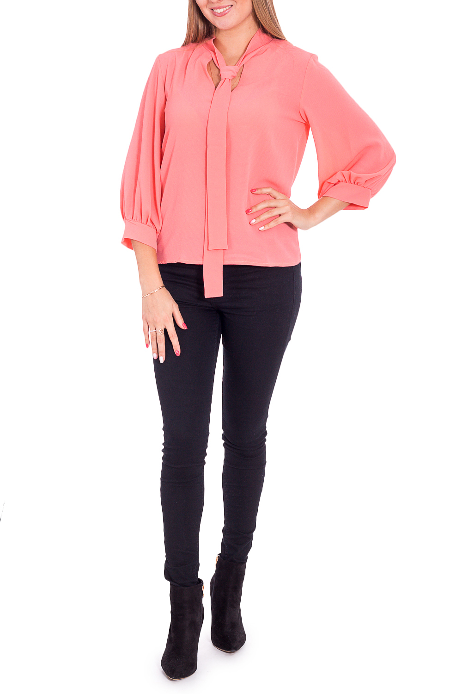 БлузкаБлузки<br>Прекрасная блузка с декоративными завязками у горловины. Модель выполнена из приятного материала. Отличный выбор для любого случая.  Цвет: коралловый  Рост девушки-фотомодели 170 см<br><br>По материалу: Блузочная ткань,Тканевые<br>По рисунку: Однотонные<br>По сезону: Весна,Зима,Лето,Осень,Всесезон<br>По силуэту: Свободные<br>По стилю: Нарядный стиль,Повседневный стиль<br>По элементам: С манжетами<br>Рукав: Рукав три четверти<br>Размер : 44-46,52-54,56-58<br>Материал: Блузочная ткань<br>Количество в наличии: 3