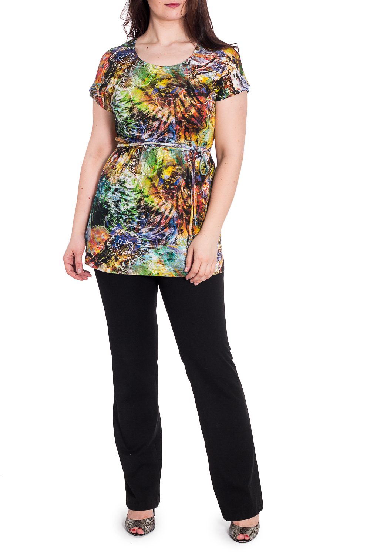 ТуникаТуники<br>Цветная туника с круглой горловиной и короткими рукавами. Модель выполнена из приятного материала. Отличный выбор для любого случая. Туника без пояса.  В изделии использованы цвета: желтый, оранжевый, зеленый и др.  Рост девушки-фотомодели 180 см<br><br>Горловина: С- горловина<br>По материалу: Вискоза<br>По рисунку: С принтом,Цветные<br>По силуэту: Полуприталенные<br>По стилю: Летний стиль,Повседневный стиль<br>Рукав: Короткий рукав<br>По сезону: Лето<br>Размер : 48<br>Материал: Вискоза<br>Количество в наличии: 2