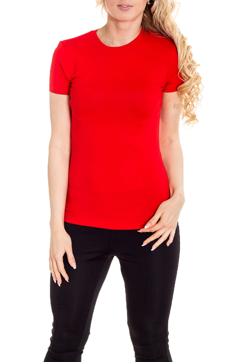 ФутболкаФутболки<br>Однотонная футболка с круглой горловиной и короткими рукавами. Модель выполнена из мягкой вискозы. Отличный выбор для базового гардероба.  Цвет: красный  Рост девушки-фотомодели 170 см.<br><br>Горловина: С- горловина<br>По материалу: Трикотаж<br>По образу: Город,Спорт<br>По рисунку: Однотонные<br>По сезону: Весна,Зима,Лето,Осень,Всесезон<br>По силуэту: Приталенные<br>По стилю: Повседневный стиль,Спортивный стиль<br>По форме: Классические<br>Рукав: Короткий рукав<br>Размер : 44<br>Материал: Вискоза<br>Количество в наличии: 1