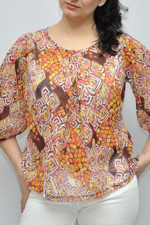 БлузкаБлузки<br>Красивая блузка с рукавами 3/4. Модель выполнена из воздушного шифона. Отличный выбор для любого случая.  Цвет: желтый, оранжевый, розовый, бежевый  Рост девушки-фотомодели 173 см.<br><br>Горловина: С- горловина<br>По материалу: Шифон<br>По образу: Город<br>По рисунку: С принтом,Цветные<br>По сезону: Весна,Зима,Лето,Осень,Всесезон<br>По силуэту: Свободные<br>По стилю: Повседневный стиль<br>Рукав: Рукав три четверти<br>Размер : 50<br>Материал: Шифон<br>Количество в наличии: 1