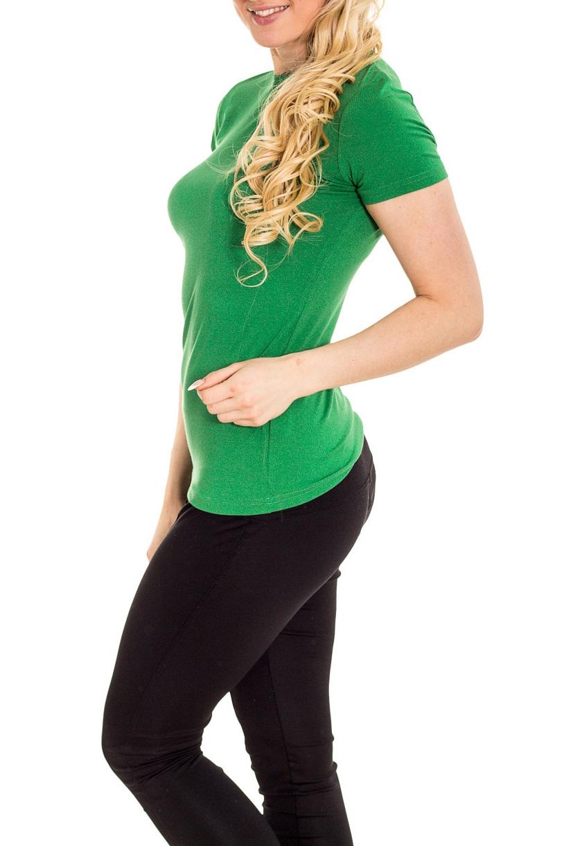 ФутболкаФутболки<br>Однотонная футболка с круглой горловиной и короткими рукавами. Модель выполнена из мягкой вискозы. Отличный выбор для базового гардероба.  Цвет: зеленый  Рост девушки-фотомодели 170 см.<br><br>Горловина: С- горловина<br>По материалу: Трикотаж<br>По рисунку: Однотонные<br>По сезону: Весна,Зима,Лето,Осень,Всесезон<br>По силуэту: Приталенные<br>По стилю: Повседневный стиль,Спортивный стиль<br>По форме: Классические<br>Рукав: Короткий рукав<br>Размер : 44<br>Материал: Вискоза<br>Количество в наличии: 1