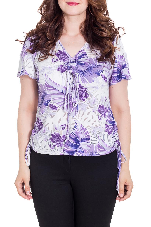 БлузкаБлузки<br>Трикотажная блузка из вискозы с добавлением органзы. Украшена завязками.  Цвет: белый, сиреневый, фиолетовый  Рост девушки-фотомодели 180 см<br><br>По сезону: Всесезон<br>Размер : 54,56,64,66<br>Материал: Вискоза<br>Количество в наличии: 4