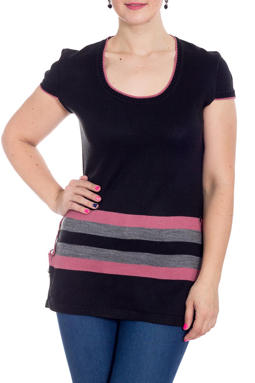 ТуникаТуники<br>Удлиненная туника с круглой горловиной и короткими рукавами. Модель выполнена из вязаного трикотажа. Туника будет отлично смотреться с блузками и водолазками.  В изделии использованы цвета: черный, серый, розовый  Рост девушки-фотомодели 180 см<br><br>Горловина: С- горловина<br>По материалу: Вязаные,Трикотаж<br>По рисунку: С принтом,Цветные<br>По силуэту: Приталенные<br>По стилю: Повседневный стиль<br>Рукав: Короткий рукав<br>По сезону: Осень,Весна<br>Размер : 54<br>Материал: Вязаное полотно<br>Количество в наличии: 2