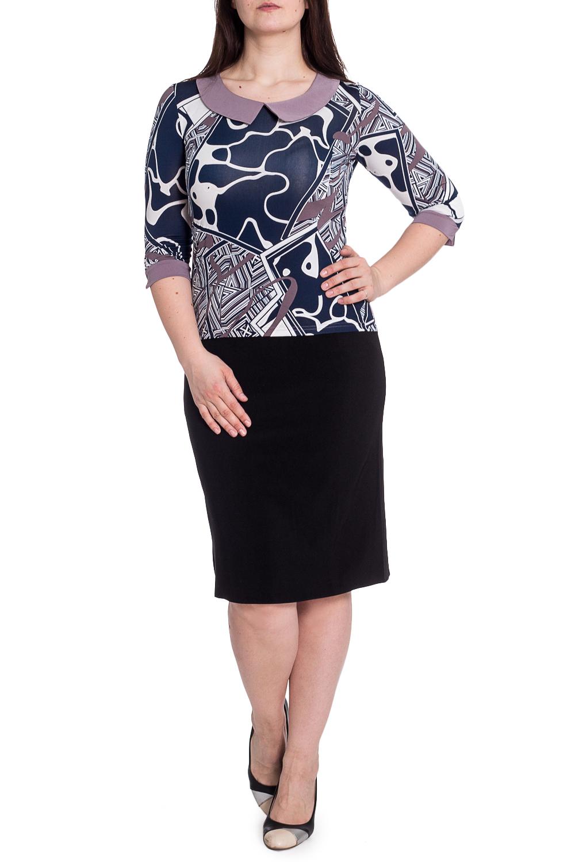БлузкаБлузки<br>Чудесное блузка с белыми манжетами и воротничком. Модель выполнена из приятного материала. Отличный выбор для любого случая. В изделии использованы цвета: синий, белый, сиреневый и др.Рост девушки-фотомодели 180 см<br><br>Воротник: Отложной<br>Горловина: С- горловина<br>Рукав: Рукав три четверти<br>Материал: Трикотаж<br>Рисунок: С принтом,Цветные<br>Сезон: Весна,Всесезон,Зима,Лето,Осень<br>Силуэт: Полуприталенные<br>Стиль: Повседневный стиль<br>Элементы: С воротником,С манжетами<br>Размер : 48,52<br>Материал: Холодное масло<br>Количество в наличии: 2