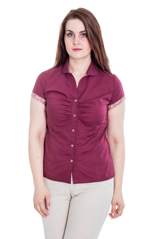 РубашкаРубашки<br>Классическая женская рубашка из приятного к телу хлопка станет основой Вашего повседневного гардероба. Застежка - пуговицы.  Цвет: малиновый.  Рост девушки-фотомодели 180 см<br><br>Воротник: Рубашечный,Стояче-отложной<br>Горловина: V- горловина<br>Застежка: С пуговицами<br>По материалу: Хлопок<br>По образу: Город,Офис,Свидание<br>По рисунку: Однотонные<br>По сезону: Весна,Зима,Лето,Осень,Всесезон<br>По силуэту: Приталенные<br>По стилю: Классический стиль,Кэжуал,Летний стиль,Офисный стиль,Повседневный стиль<br>По элементам: С воротником,С вырезом,С декором,С манжетами<br>Рукав: Короткий рукав<br>Размер : 48,56<br>Материал: Хлопок<br>Количество в наличии: 1