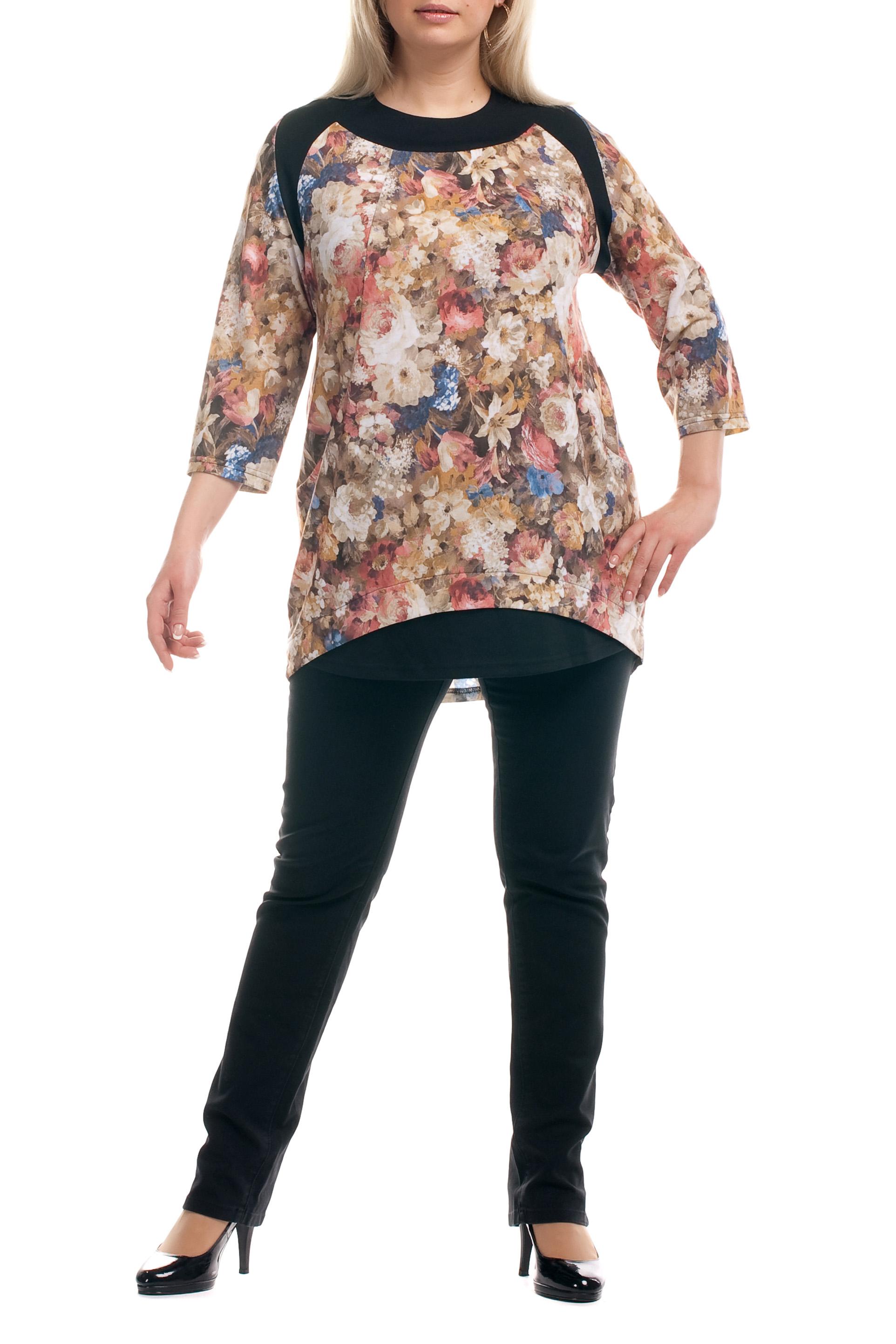 ТуникаТуники<br>Удлиненная женская туника с фигурной горловиной и рукавами 3/4. Модель выполнена из плотного трикотажа. Отличный выбор для повседневного гардероба.  Цвет: бежевый, мультицвет  Рост девушки-фотомодели 173 см.<br><br>Горловина: С- горловина<br>По материалу: Вискоза,Трикотаж<br>По образу: Город,Свидание<br>По рисунку: Растительные мотивы,Цветные,Цветочные<br>По сезону: Весна,Осень<br>По силуэту: Прямые<br>По стилю: Повседневный стиль<br>По элементам: С декором,С карманами<br>Рукав: Рукав три четверти<br>Размер : 52,54,56,62,64<br>Материал: Трикотаж<br>Количество в наличии: 8