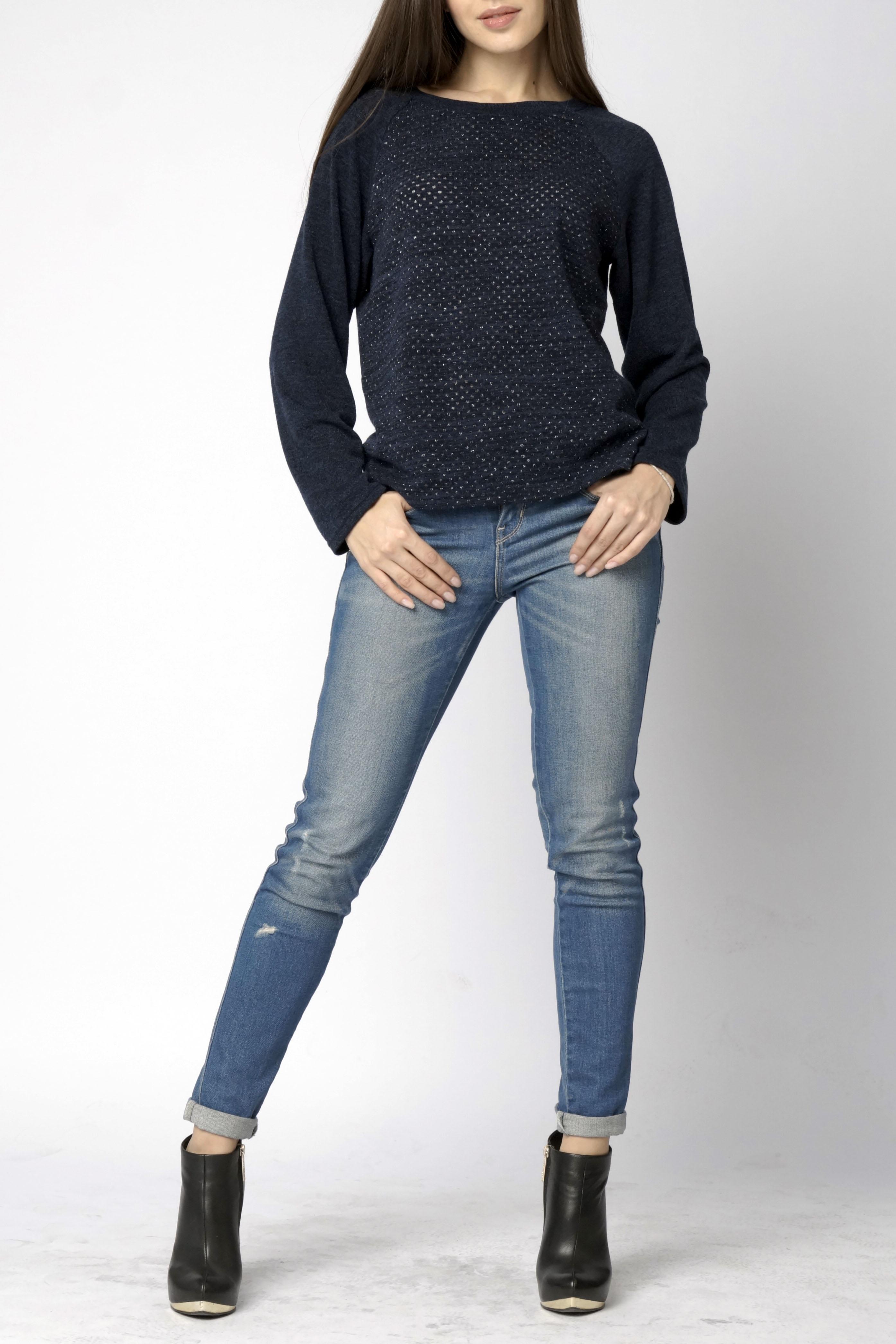 БлузкаДжемперы<br>Уютная блуза прямого кроя из комфортного трикотажного полотна с длинным перфорированным рукавом реглан и круглым вырезом горловины.  Длина изделия 58 см.  В изделии использованы цвета: синий  Ростовка изделия 170 см.<br><br>Горловина: С- горловина<br>По материалу: Трикотаж<br>По рисунку: Однотонные<br>По силуэту: Свободные<br>По стилю: Кэжуал,Молодежный стиль,Повседневный стиль<br>Рукав: Длинный рукав<br>По сезону: Осень,Весна<br>Размер : 44-46,48-50<br>Материал: Трикотаж<br>Количество в наличии: 2