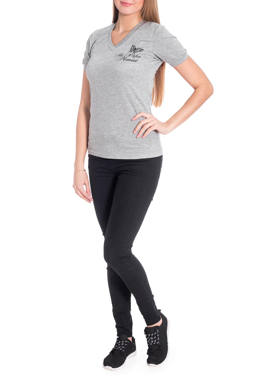 ДжемперФутболки<br>Однотонная футболка с V-образной горловиной и короткими рукавами. Модель выполнена из приятного трикотажа. Отличный выбор для базового гардероба. Ростовка изделия 164 см.  В изделии использованы цвета: серый, черный  Рост девушки-фотомодели 170 см<br><br>Горловина: V- горловина<br>По материалу: Трикотаж,Хлопок<br>По рисунку: Однотонные,С принтом<br>По сезону: Весна,Зима,Лето,Осень,Всесезон<br>По силуэту: Приталенные<br>По стилю: Повседневный стиль<br>Рукав: Короткий рукав<br>Размер : 44,46,48,50,54<br>Материал: Трикотаж<br>Количество в наличии: 10
