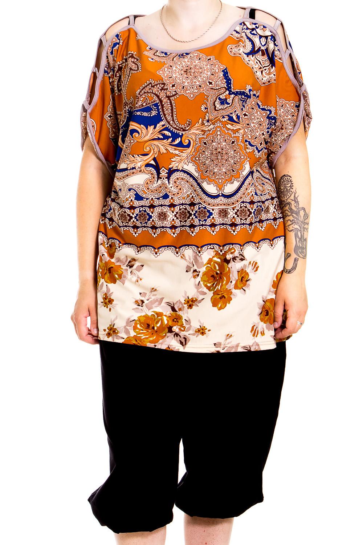 ТуникаТуники<br>Домашняя туника с короткими рукавами. Домашняя одежда, прежде всего, должна быть удобной, практичной и красивой. В тунике Вы будете чувствовать себя комфортно, особенно, по вечерам после трудового дня.  В изделии использованы цвета: оранжевый, белый, синий и др.  Ростовка изделия 170 см.<br><br>Горловина: С- горловина<br>По рисунку: Цветные,Этнические,С принтом<br>По сезону: Весна,Зима,Лето,Осень,Всесезон<br>По силуэту: Полуприталенные<br>Рукав: Короткий рукав<br>По материалу: Хлопок<br>Размер : 52-54<br>Материал: Хлопок<br>Количество в наличии: 1