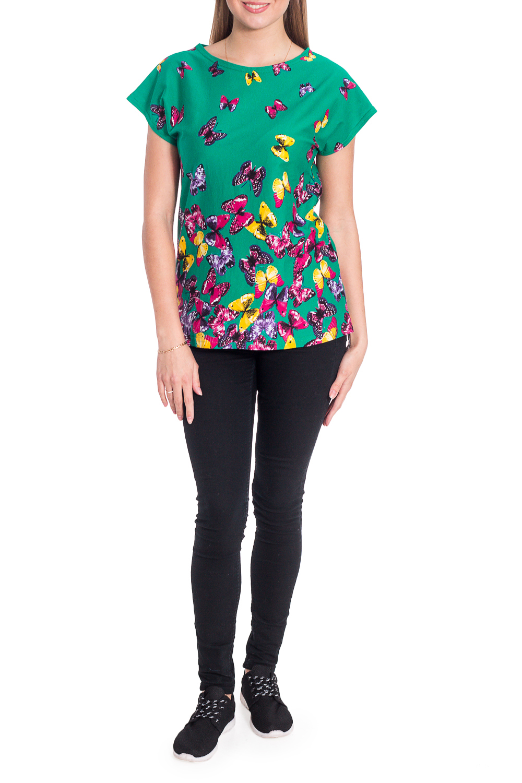 ДжемперФутболки<br>Цветная футболка с круглой горловиной и короткими рукавами. Модель выполнена из хлопкового материала. Отличный выбор для повседневного гардероба. Ростовка изделия 164 см.  В изделии использованы цвета: зеленый и др.  Рост девушки-фотомодели 170 см<br><br>Горловина: С- горловина<br>По рисунку: Растительные мотивы,С принтом,Цветные,Цветочные<br>По сезону: Весна,Зима,Лето,Осень,Всесезон<br>По силуэту: Полуприталенные<br>По стилю: Повседневный стиль<br>Рукав: Короткий рукав<br>Размер : 46<br>Материал: Хлопок<br>Количество в наличии: 1