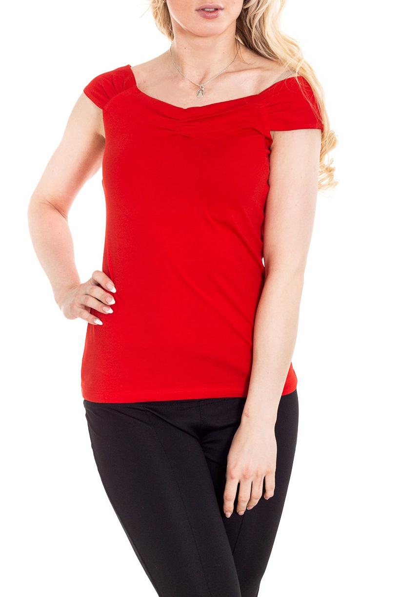 БлузкаБлузки<br>Великолепная блузка с короткими рукавами. Модель выполнена из мягкой вискозы. Отличный выбор для повседневного гардероба.  Цвет: красный  Рост девушки-фотомодели 170 см.<br><br>Горловина: Лодочка<br>По материалу: Вискоза,Трикотаж<br>По образу: Город,Свидание<br>По рисунку: Однотонные<br>По сезону: Весна,Зима,Лето,Осень,Всесезон<br>По силуэту: Приталенные<br>По стилю: Повседневный стиль<br>По элементам: С открытыми плечами<br>Рукав: Короткий рукав<br>Размер : 46<br>Материал: Трикотаж<br>Количество в наличии: 1