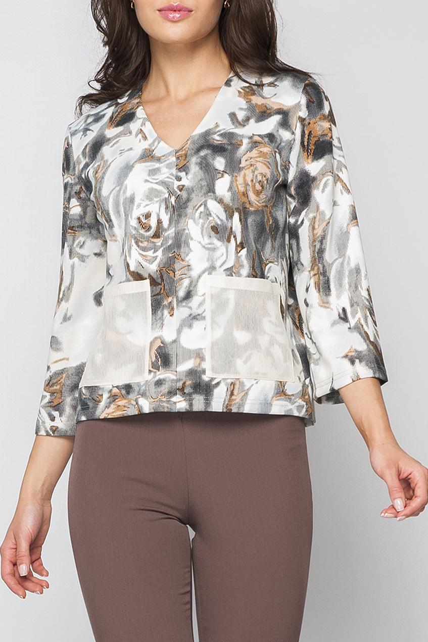 ДжемперДжемперы<br>Джемпер женский из плотного трикотажа с цветочным принтом. Выполнен в классическом стиле, дополнен оригинальными карманами, которые придают индивидуальность. Джемпер отлично комбинируется с однотонными брюками. Идеальное дополнение к Вашему образу.   Параметры изделия:  44 размер: обхват груди - 100 см, длина рукава - 47 см, длина изделия - 55 см;  52 размер: обхват груди - 116 см, длина рукава - 47 см, длина изделия - 58 см.  В изделии использованы цвета: белый, серый, бежевый  Рост девушки-фотомодели 170 см.<br><br>Горловина: V- горловина<br>По материалу: Трикотаж<br>По рисунку: С принтом,Цветные,Цветочные<br>По сезону: Весна,Осень,Всесезон<br>По силуэту: Прямые<br>По стилю: Повседневный стиль<br>По элементам: С карманами<br>Рукав: Рукав три четверти<br>Размер : 42,46,48,50<br>Материал: Джерси<br>Количество в наличии: 4