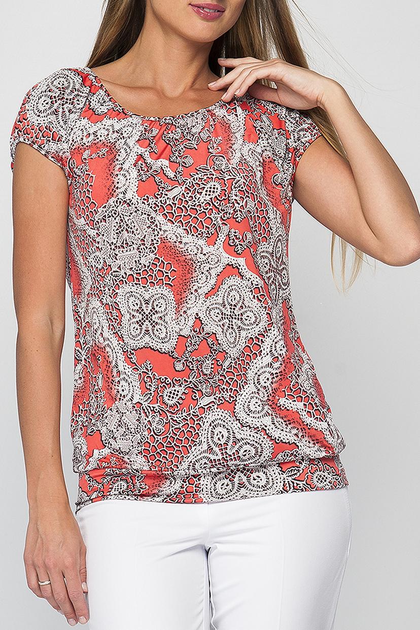 БлузкаБлузки<br>Женская блуза полуприлегающего силуэта, выполненая из приятной к телу ткани. Широкая манжета по низу блузы подчеркивает линию бедер, а контрастный принт сделает Ваш повседневный образ более стильным и позволит ощущать себя комфортно в любой ситуации. Модель можно комбинировать как с джинсами, брюками, так и юбками.  Параметры изделия:  44 размер: обхват груди - 100 см, длина изделия - 62 см;  52 размер: обхват груди - 120см, длина изделия - 64см.  В изделии использованы цвета: коралловый, белый и др.  Рост девушки-фотомодели 175 см.<br><br>Горловина: С- горловина<br>По материалу: Трикотаж<br>По рисунку: С принтом,Цветные<br>По сезону: Весна,Зима,Лето,Осень,Всесезон<br>По силуэту: Полуприталенные<br>По стилю: Повседневный стиль,Летний стиль<br>Рукав: Короткий рукав<br>Размер : 42,44,46<br>Материал: Холодное масло<br>Количество в наличии: 3