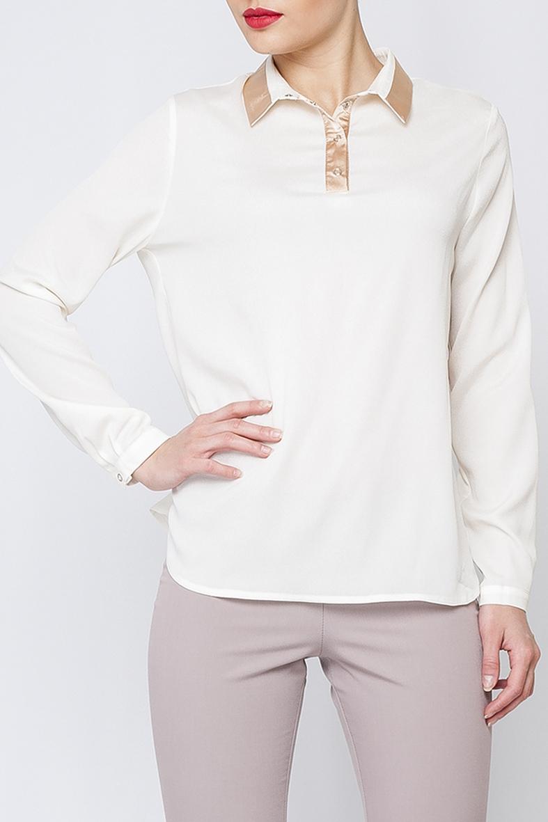 РубашкаБлузки<br>Эллегантная женская блуза, нежного молочного оттенка, которая придаст в строгий офисный стиль свою нотку женственности.   В изделии использованы цвета: молочный  Рост девушки-фотомодели 170 см.<br><br>Воротник: Рубашечный<br>По материалу: Тканевые<br>По рисунку: Однотонные<br>По сезону: Весна,Зима,Лето,Осень,Всесезон<br>По силуэту: Прямые<br>По стилю: Классический стиль,Офисный стиль,Повседневный стиль<br>По элементам: С манжетами<br>Рукав: Длинный рукав<br>Размер : 42,44,50<br>Материал: Блузочная ткань<br>Количество в наличии: 3