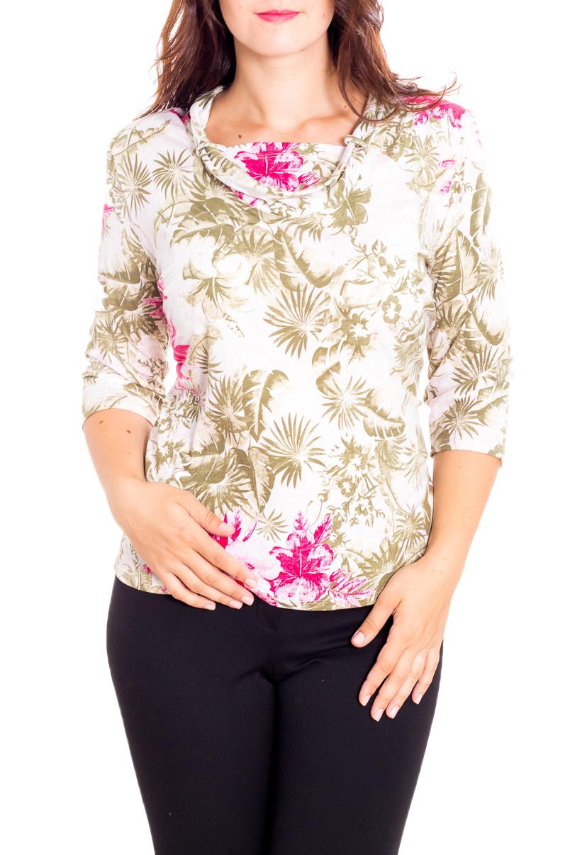 БлузкаБлузки<br>Цветная блузка с рукавами 3/4. Модель выполнена из мягкой вискозы. Отличный выбор для повседневного гардероба.  В изделии использованы цвета: белый, бежевый, розовый  Рост девушки-фотомодели 180 см.<br><br>Горловина: С- горловина<br>По материалу: Вискоза,Трикотаж<br>По рисунку: Растительные мотивы,С принтом,Цветные,Цветочные<br>По сезону: Весна,Зима,Лето,Осень,Всесезон<br>По силуэту: Приталенные<br>По стилю: Повседневный стиль<br>По элементам: С декором<br>Рукав: Рукав три четверти<br>Размер : 58,62<br>Материал: Вискоза<br>Количество в наличии: 2