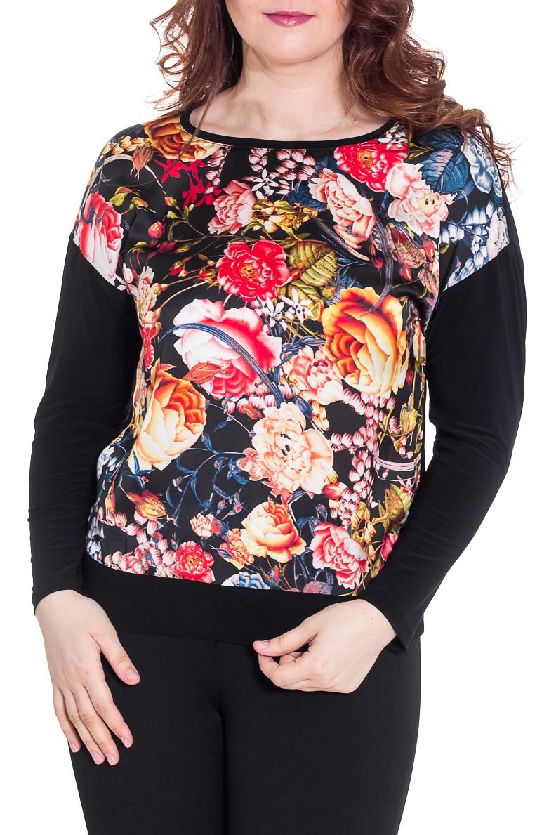 БлузкаБлузки<br>Красивая блузка с ярким принтом. Модель выполнена из шелковистого материала. Отличный выбор для любого случая.  Цвет: черный, розовый, коралловый, оранжевый, синий  Рост девушки-фотомодели 180 см.<br><br>Горловина: С- горловина<br>По материалу: Трикотаж,Шелк<br>По рисунку: Растительные мотивы,С принтом,Цветные,Цветочные<br>По сезону: Весна,Зима,Лето,Осень,Всесезон<br>По силуэту: Полуприталенные<br>По стилю: Повседневный стиль<br>Рукав: Длинный рукав<br>Размер : 48-50,52-56<br>Материал: Шелк<br>Количество в наличии: 3