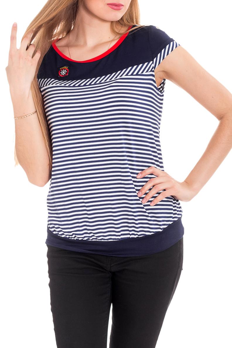 БлузкаБлузки<br>Женская блузка с круглой горловиной и короткими рукавами. Модель выполнена из мягкой вискозы. Отличный выбор для повседневного гардероба.  За счет свободного кроя и эластичного материала изделие комфортно носить во время беременности  Цвет: синий, белый, красный  Рост девушки-фотомодели 170 см<br><br>Горловина: С- горловина<br>По материалу: Вискоза,Трикотаж<br>По рисунку: В полоску,С принтом,Цветные<br>По сезону: Весна,Осень,Всесезон<br>По силуэту: Полуприталенные<br>По стилю: Повседневный стиль<br>Рукав: Короткий рукав<br>Размер : 46,50,52<br>Материал: Вискоза<br>Количество в наличии: 3