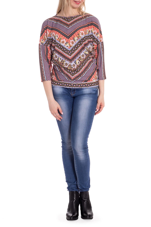 БлузкаБлузки<br>Цветная блузка с рукавами 3/4. Модель выполнена из мягкой вискозы. Отличный выбор для повседневного гардероба.  В изделии использованы цвета: сиреневый, коралловый и др.  Рост девушки-фотомодели 170 см<br><br>Горловина: С- горловина<br>По материалу: Вискоза<br>По рисунку: Растительные мотивы,С принтом,Цветные,Цветочные<br>По сезону: Весна,Зима,Лето,Осень,Всесезон<br>По силуэту: Свободные<br>По стилю: Повседневный стиль<br>Рукав: Рукав три четверти<br>Размер : 44,46,48,50,54<br>Материал: Вискоза<br>Количество в наличии: 5